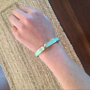 Gold & Mint Stud Bracelet with Cuff Design